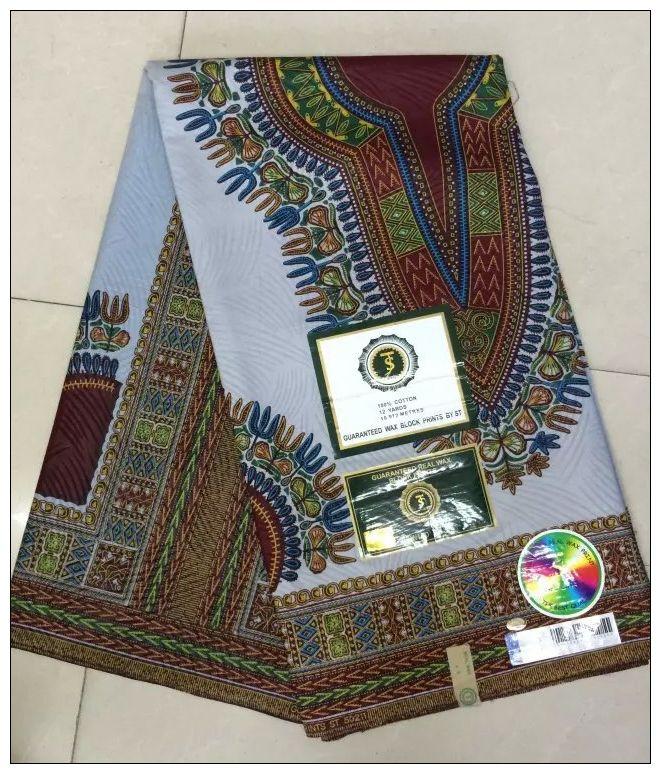 Gris color Dashiki tela africana impresiones de la cera para la camisa de los hombres 100% algodón súper hollandais cera Nigeriano para bolsas/vestido de las mujeres(China (Mainland))