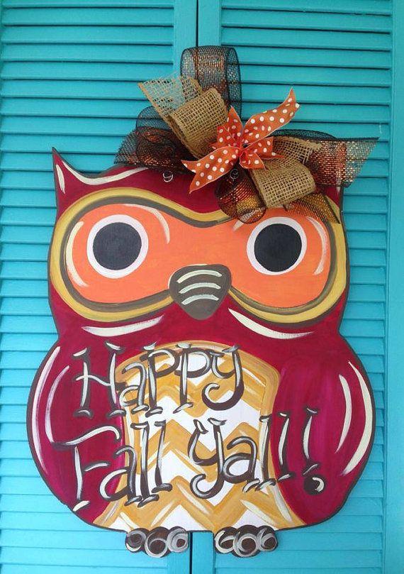Fall Door hanger Owl Door Hanger by WhimsyGirlArt on Etsy, $35.00