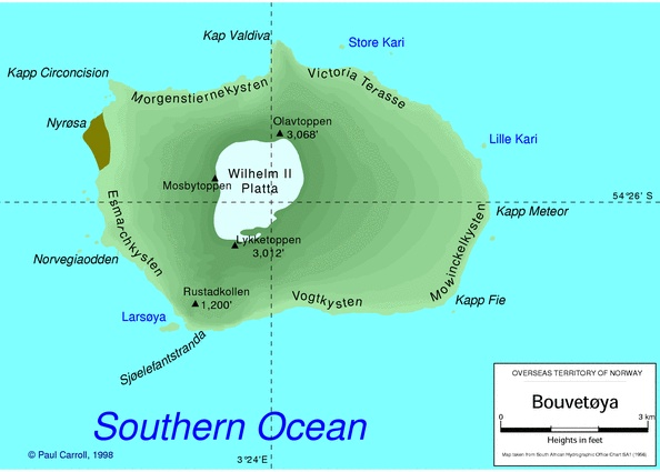 Bouvet Island (Norwegian: Bouvetøya), is an uninhabited subantarctic volcanic island and dependency of Norway located in the South Atlantic Ocean at 54°25.8′S 3°22.8′ECoordinates: 54°25.8′S 3°22.8′E. It lies at the southern end of the Mid-Atlantic Ridge and is the most remote island in the world.