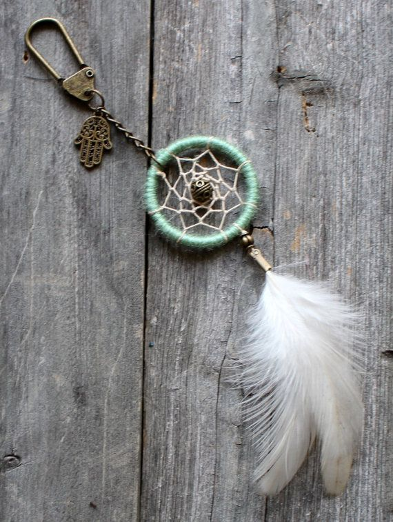 Dream Catcher Keychain Hamsa Purse Charm by VagaBoundPeople