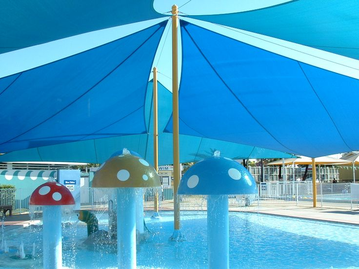 RAINBOW SHADE FABRIC - COMMERCIAL APPLICATION - SWIMMING POOL SHADE