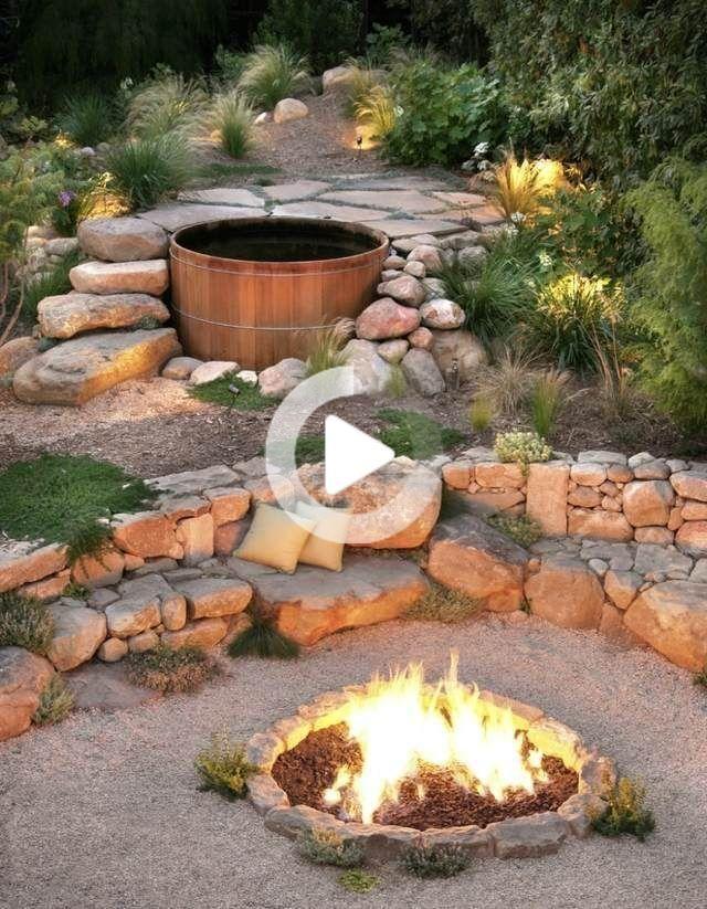 Badewanne Badespass Feuerstelle Gartenbank Steine Badespass Badewanne Feuerstelle Gartenb In 2020 Feuerstelle Garten Steingarten Gestalten Garten