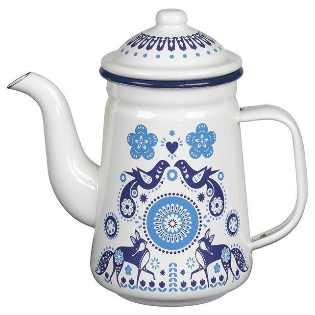 Blue Enamel Folklore Tea Pot