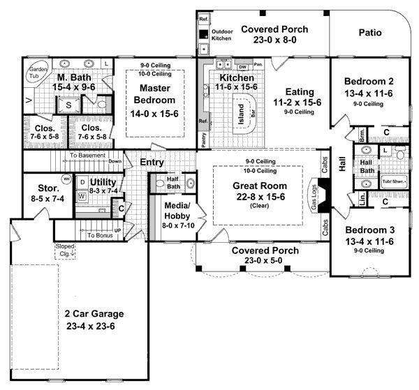 House Plans With Basement basement floor plan for the olmstead house plan Love This One Story Home It Has A Basement And A Bonus Area Over The