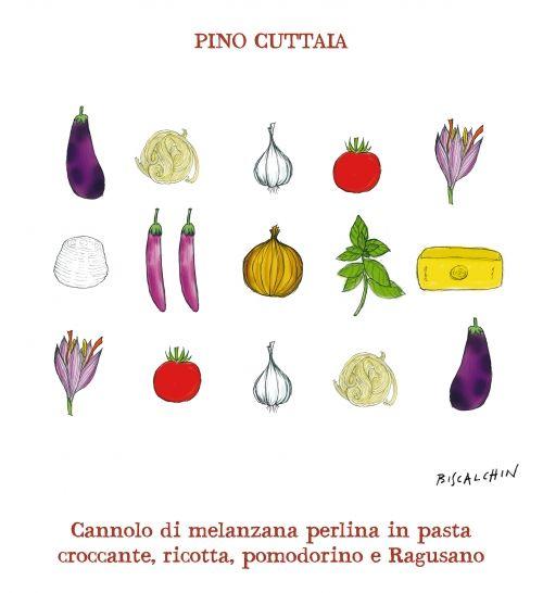 Cannolo di Melanzana Perlina in pasta croccante, ricotta, pomodorino e Ragusano DOP