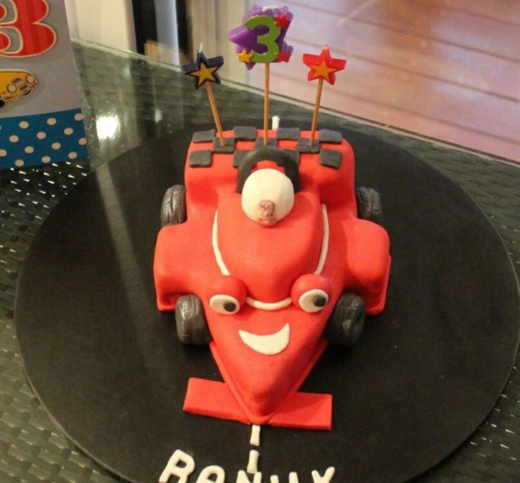 Racing car cake for a 3 year old boy.