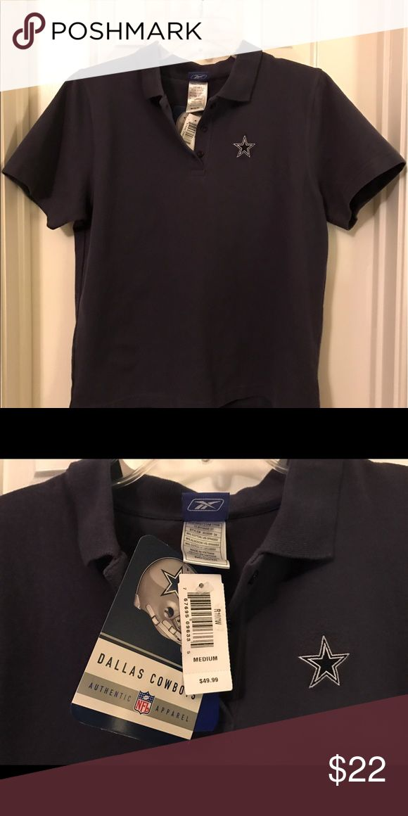 Dallas Cowboys Reebok Golf Polo Shirt Medium NWT Dallas Cowboys Reebok Golf Polo Shirt Size Medium. It is new with tags. Color is navy. Star logo is embroidered. 96% cotton, 4% spandex.  Smoke-free home. Reebok Tops