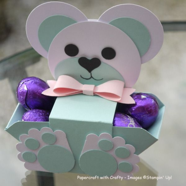Teddy Bear Treat Box by Linda Parker,  Made with various Punches and the Envelope Punch Board. Really pleased with my little teddy. Great for Baby Showers x The same base as my tutorial for the Easter Bunny. Just different punches. https://www.youtube.com/watch?v=jW_9ly-Jtvo
