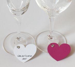 Herz Tischkarten fürs Glas Hochzeit Taufe Kommunion Deko Aufdruck Platzkarten
