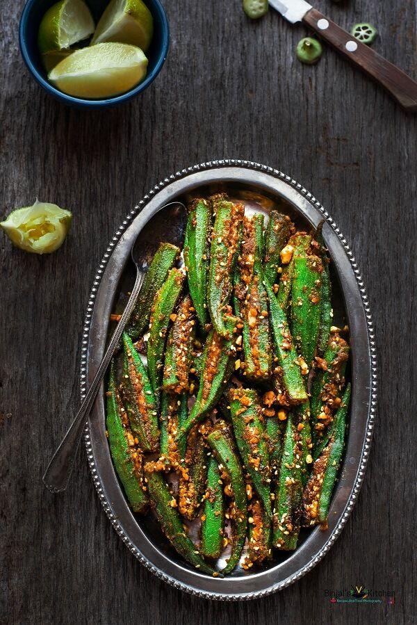 Bharwan Bhindi (Stuffed Okra) - Binjal's VEG Kitchen