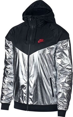 7a3d108e225e Nike Sportswear Metallic Windrunner Jacket Mens M Black Metallic Silver   Nike  TrackJacket