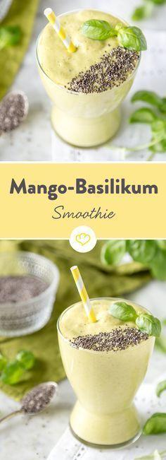 Basilikum zum … Smoothie! In Kombination mit Mango, Kokoswasser und Joghurt bildet das italienische Kraut ein herrlich cremiges Stelldichein und wird dank Chia-Samen zum absoluten Superfood-Smoothie.