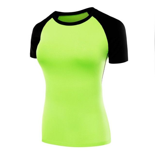 Sports TrainingTights Thirts PRO Fitness Patchwork Yoga Clothes Tight StretchShort sSleeve T-shirt For Women