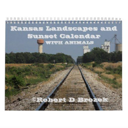 Kansas Landscapes and Sunset Calendar with Animals - animal gift ideas animals and pets diy customize