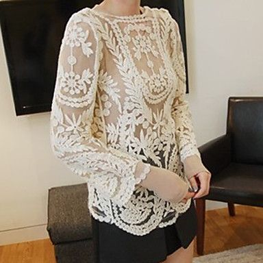 Women's Lace Embroidery Crochet Cutwork Sheer Outwear – EUR € 10.31