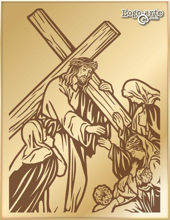 Novena estación del Viacrucis: Jesús encuentra a las mujeres de Jerusalén  Aquel viernes, a ambos lados del camino hacia el Gólgota, había una gran multitud de personas viendo el espectáculo del paso de los condenados. Entre esa gente había un grupo de mujeres, que se dedicaban a consolar a los moribundos y a los condenados a muerte, entre golpes de pechos y lamentos.  Jesús se volvió hacia ellas y les dijo: «Hijas de Jerusalén, no lloréis por mí, llorad por vosotras y por vuestros hijos»