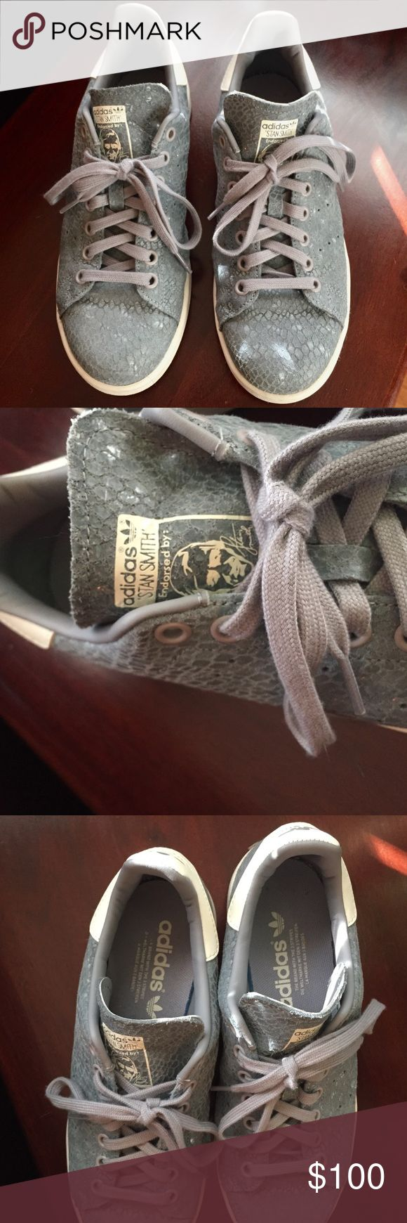 Snake skin Stan Smith limited edition Adidas These sneakers are in amazing condition• women's size 7.5 but can fit an 8• worn once • super cute but don't fit me •bundle with other items in my closet to get the best deal!!! Shoes Sneakers
