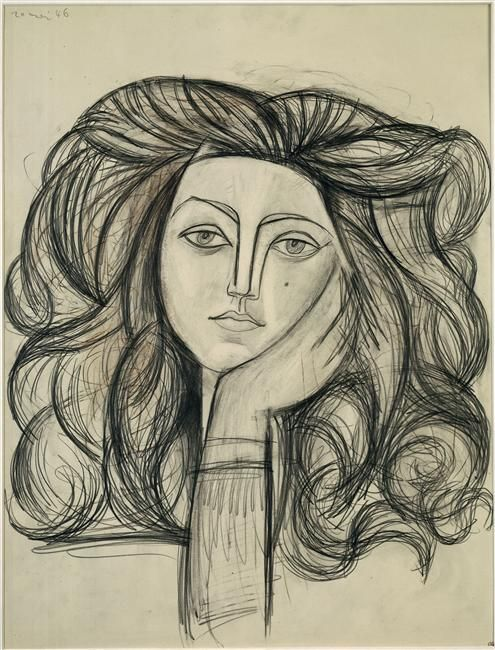 Art drawing portrait of francoise by pablo picasso 1946 graphite charcoal and color pencil