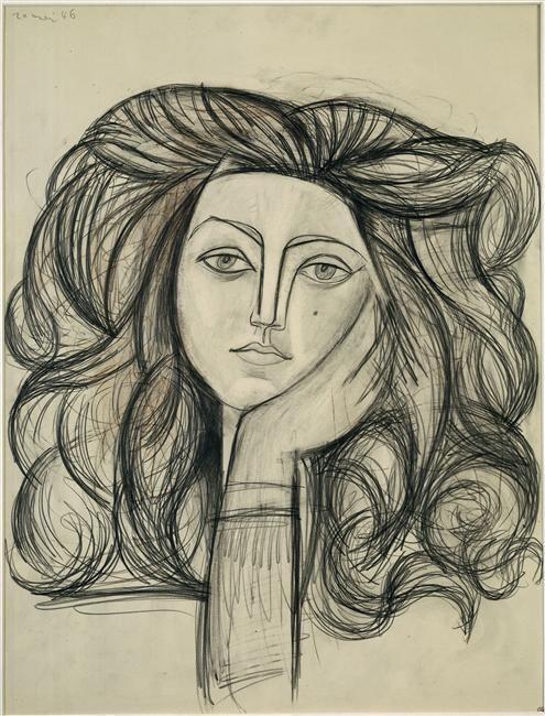 Pablo Picasso, Portrait de Françoise, 20 mai 1946, crayon de couleur, fusain, mine de plomb, 66 x 50 cm, Musée Picasso, Paris.