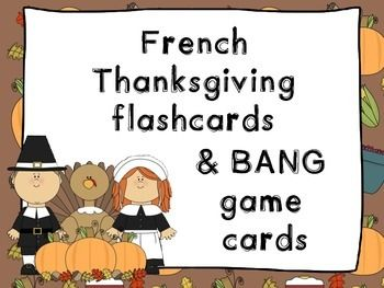 French Thanksgiving flashcards & BANG vocabulary game - L'Action de graces