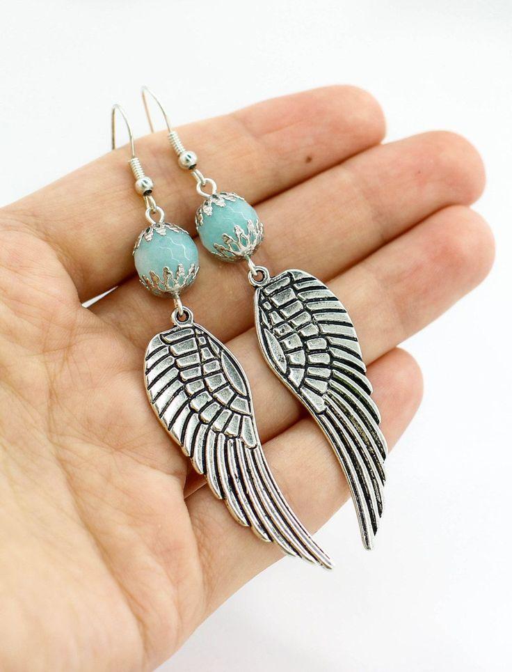 Angel wing earrings Bohemian jewelry Statement earrings Boho jewelry Birthday gift for girlfriend gift women gift Anniversary gift for her by JuliaDesignShop on Etsy https://www.etsy.com/listing/266854152/angel-wing-earrings-bohemian-jewelry #girlfriendgift