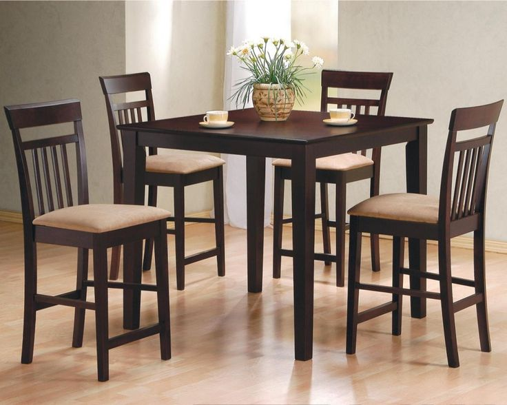 Dining Room. Alluring Dinette Sets With Wooden Small Square Dining Table Plus Small Vase With White Flowers. #dining room, #interior, #furniture, #wooden, #dinette http://bensonsroom.com
