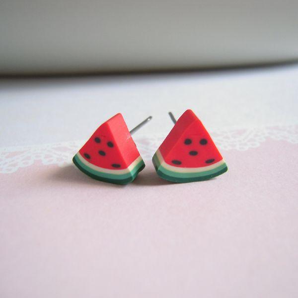 Tranches de #pasteque Boucles d'oreilles de Little Pink Box #fruit #watermelon