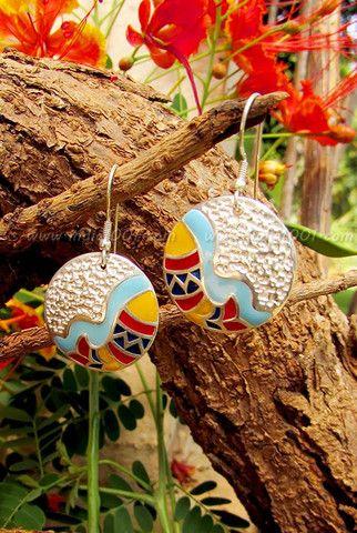 Designer Sterling Silver  Earrings  with Madhubani art inspiration