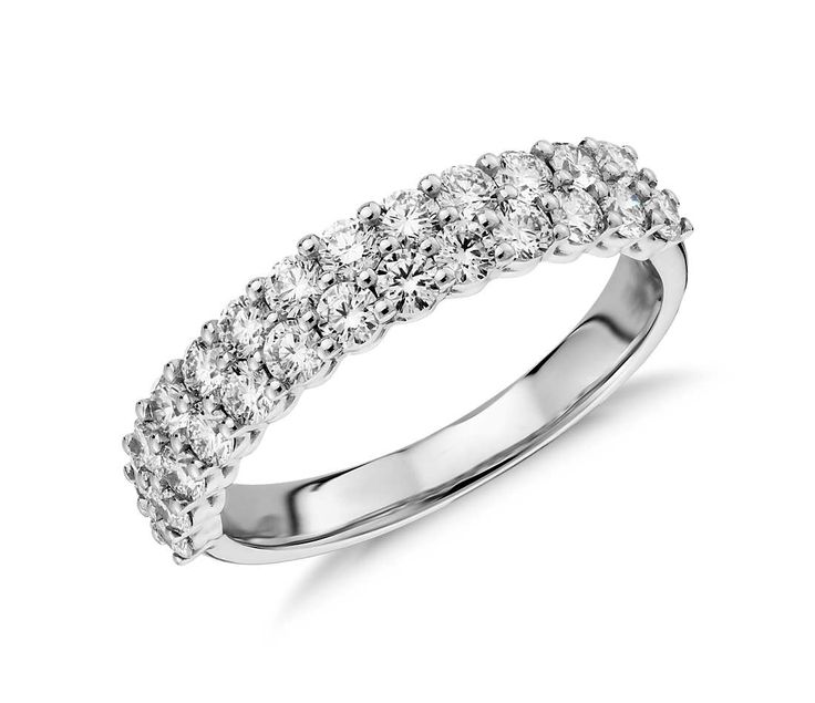 Amazing Aria Double Row Diamond Ring in k White Gold ct tw