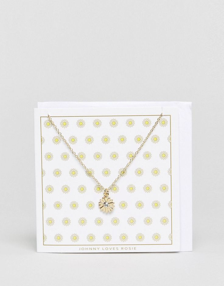 Johnny Loves Rosie Daisy Giftcard Necklace - Gold