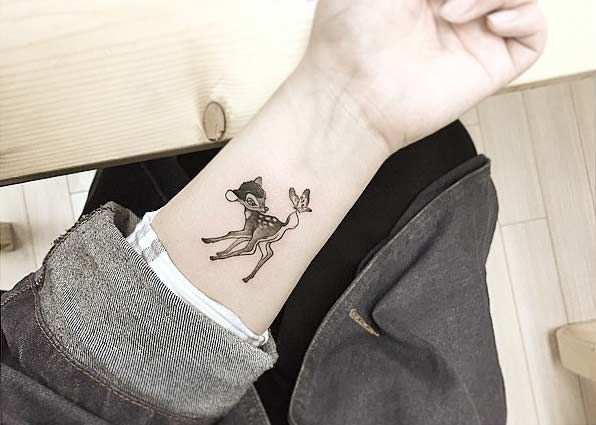Cute Bambi Wrist Tattoo Idea
