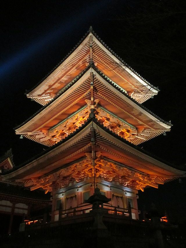 Kiyomizu-dera - illuminated. Buddhist Temple, built in the 17th C. There is not a single nail used in the entire structure. Kyoto Japan