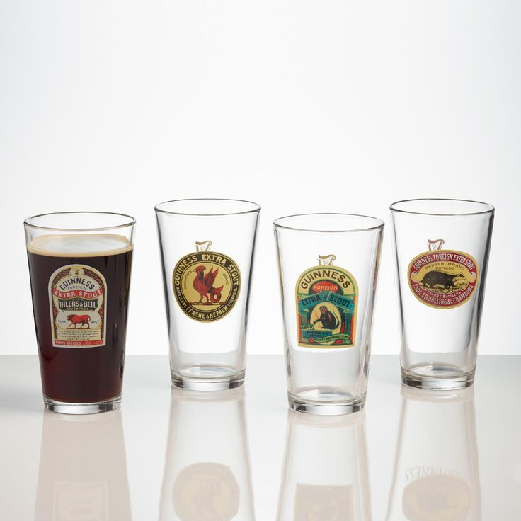 """""""The luck 'o the Irish to ya."""" Classic pub drinking glasses showcase vintage labels from the quintessential Irish beverage, Guinness."""