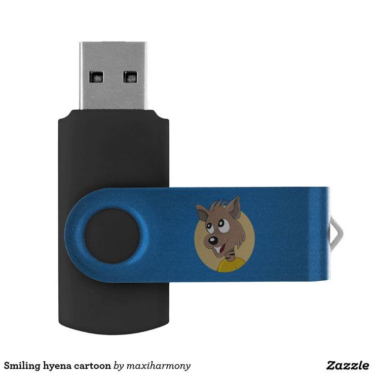 Smiling hyena cartoon swivel USB 2.0 flash drive