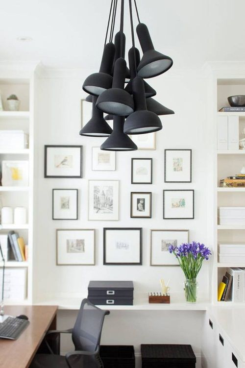 workspace lighting. black u0026 white workspace grouped pendants gallery wall lighting