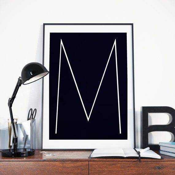 Black and White Letter M wall art baby boy von TheLittlePosterShop
