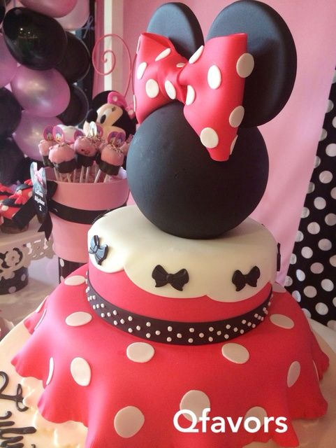 Amazing cake at a Minnie Mouse girl birthday party! See more party ideas at CatchMyParty.com!