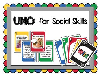 This card game follows the rules of UNO (R) by Mattel, but is customized for speech therapy or counseling by featuring social skills scenarios and discussion prompts. This set of 112 cards is color-coded based on the skills that are being targeted: -Blue: Social Scenarios / Problem-Solving -Green: Conversation Skills -Red: Perspective Taking (including thinking bubbles) -Yellow: Emotions / Feelings.