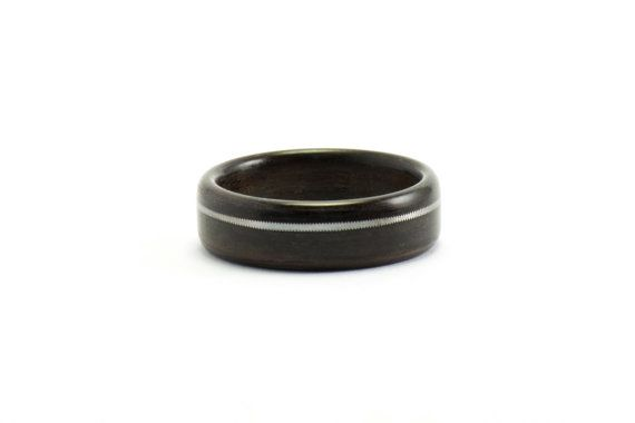 Wood and Guitar String Ring Indian Rosewood Jewelry by Ebeniste, $175.00