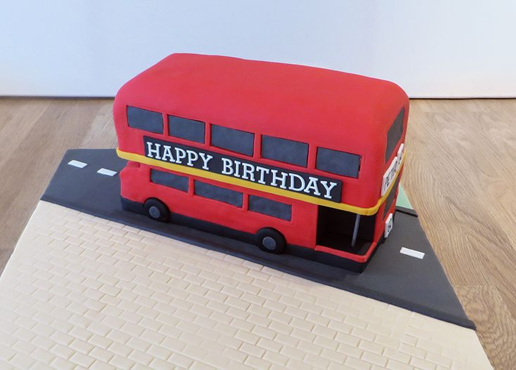 London red bus birthday cake #novelty #bus #cake #london -Celebration Cakes - The Cakery Leamington Spa