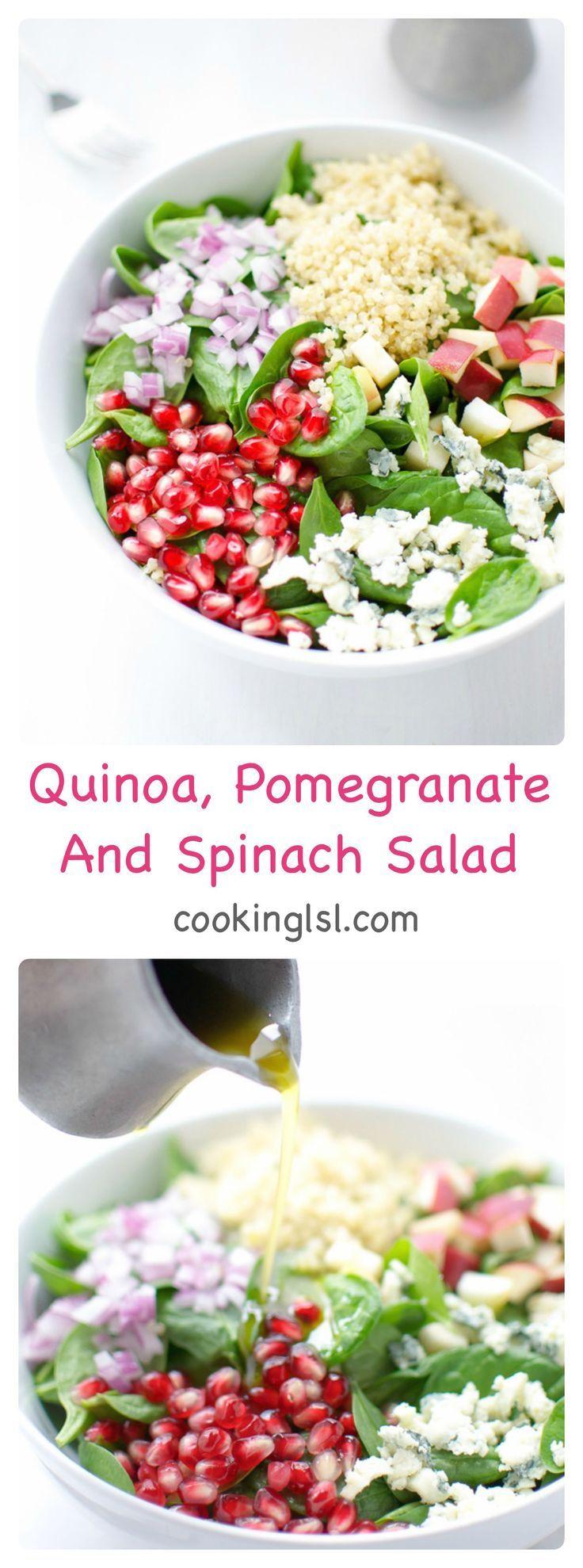 Quinoa , Pomegranate and Spinach Salad