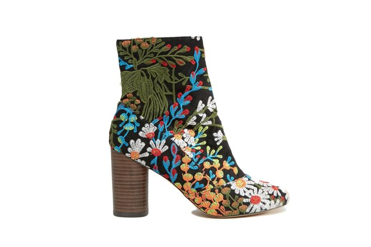 #ASOS, £50 at www.asos.com. #vogue #floral #boot #ankleboot #fashion #accessories #womens #ladies #shoes #heels #stackedheel #blue #green #red #blue #dct #derniercritoday #dctfinds #white #spring #colorful