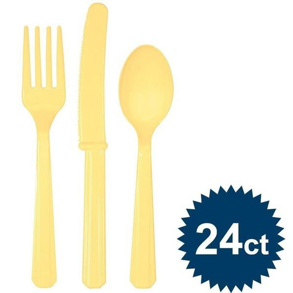 Check out Light Yellow Cutlery Set - Cutlery Party Supplies from Birthday In A Box