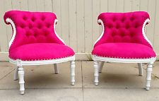 HOLLYWOOD REGENCY PAIR HOT PINK WHITE CHESTERFIELD VANITY CHAIR GLAM SEAT STOOLS