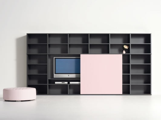 sliding door can hide TV; available in multiple color ways