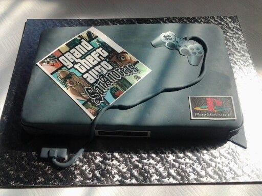 Chocolate fudge playstation cake