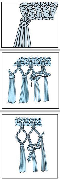 How to make fringe ~ single, double, & triple knot . . . . ღTrish W ~ http://www.pinterest.com/trishw/ . . . . #crochet