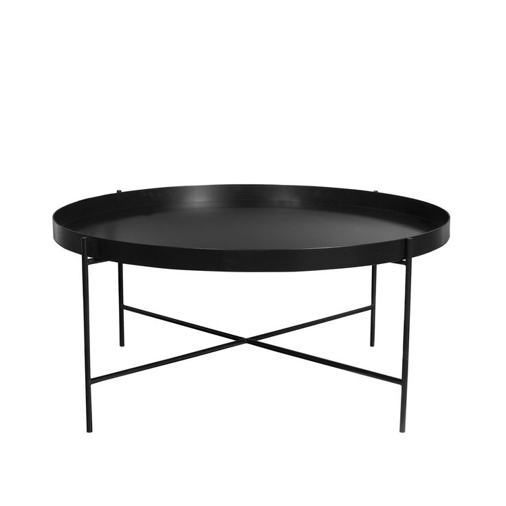 Mild Steel Coffee Table: Matt Black Epoxy Coated Galvanised Mild Steel Round Tray