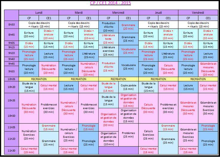 Emploi du temps CP - Ce1 2014 - 2015