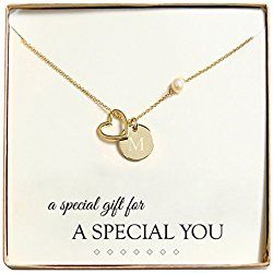 Cathy's Concepts Personalized Gold Open Heart Medallion Necklace, Monogrammed Letter great Valentine's day gift